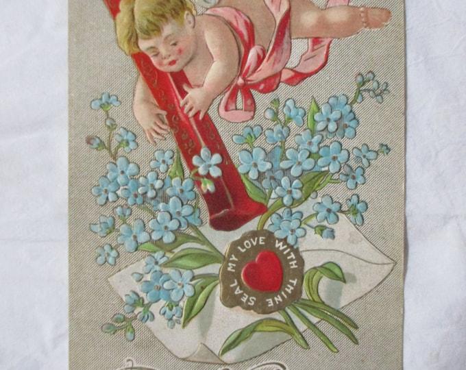 1911 Embossed Cupid Valentine, SEAL MY LOVE, #361, Postmarked 2/14/1911 San Bernardino California