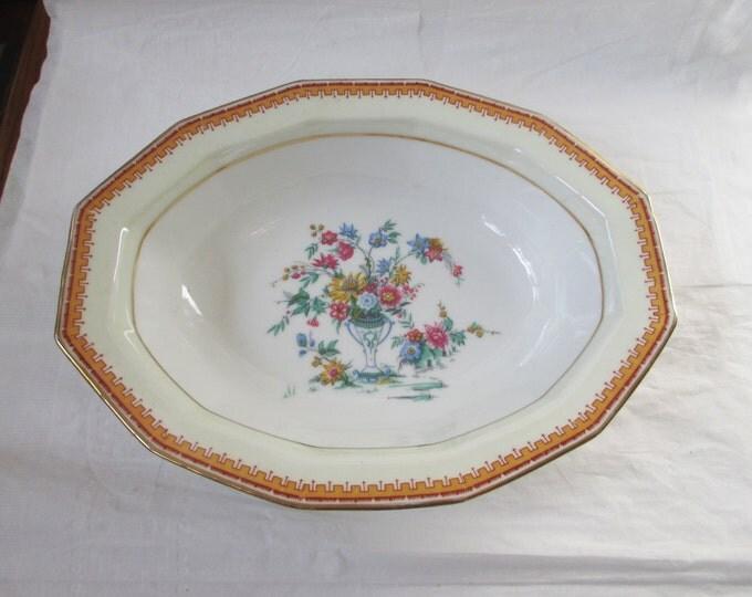 """Charles Ahrenfeldt Limoges France 9"""" Oval Serving Bowl, Floral Vase, Gold Trim 12-sided (c. 1920s)"""