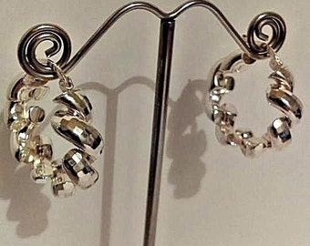 Vintage Italy 925 Sterling Silver Milor thick twisted Earrings
