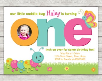 Cuddle Bug Birthday Invitation, 1st Birthday Girl Invite - Printable File or Printed Invitations