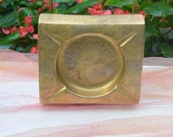 1950's Sascha Brastroff Ashtray/Decor - Large, Signed - California Art Pottery, Gold Overlay, Interesting Design - Vintage - Fabulous!