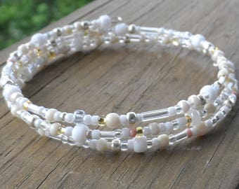 3 Strand Summer White and Cream Memory Wire Bracelet with Gold Accent Czech Beads