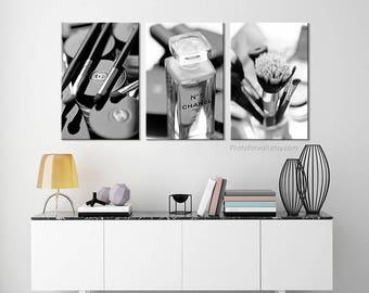 Chanel Bathroom Decor/Chanel Decor/canvas Art/black And White Photography/ Bathroom