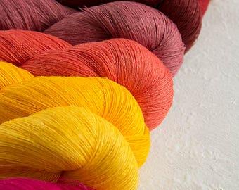 Set of 8 linen skeins - yellow pink red linen thread