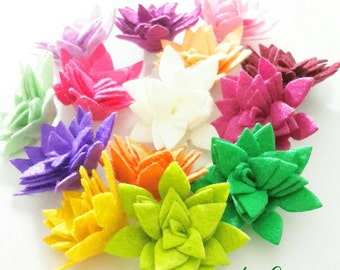 Felt Flowers,10 Pieces ,  Felt Flowers Rolled Gardenia Set, Felt Die Cut Flowers, for Easter Project