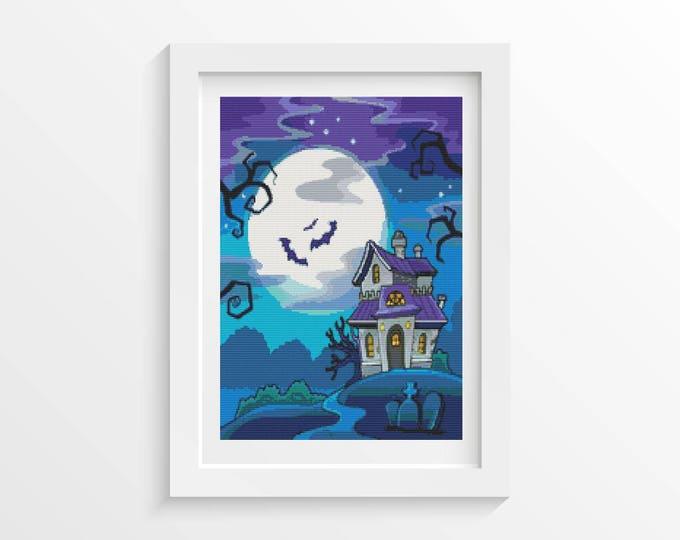 Cross Stitch Pattern PDF, Embroidery Chart, Art Cross Stitch, Holiday Cross Stitch, All Hallow's Eve Castle (ART010)