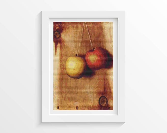 Cross Stitch Pattern PDF, Embroidery Chart, Art Cross Stitch, Food Cross Stitch, Hanging Apples by Descott Evans (EVANS01)