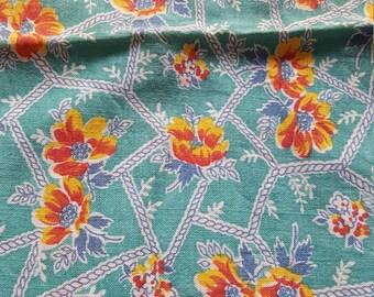 Vintage FULL Unopened Feed Sack Feedsack Fabric Material Blue Flowers  BEAUTIFUL