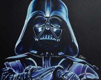 Darth Vader Original Drawing Star Wars Art