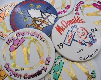 1994 McDonald's Pog Eight (8) Pogs Cowboy Hats & Shiny Arches Canyon Country, CA ~ Speedee The Hamburger ~ McDonalds Maingate