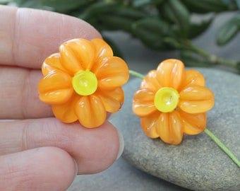 Lampwork beads Daisies Orange, Lampwork glass beads SRA, Daisies Flower beads, Lampwork Beads, Lampwork Glass Beads, Handmade Lampwork beads