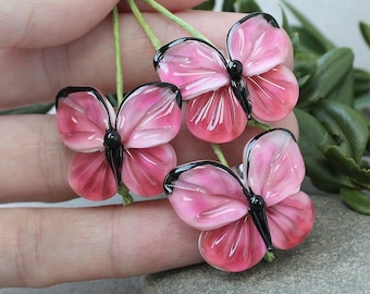 Butterfly Lampwork Beads, 1 pc Handmade Butterfly, Glass Butterfly, Lampwork Butterfly, Butterfly, Butterfly Beads for Jewelry, Insects Bead