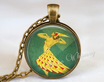 ART DECO DANCER Jewelry Pendant Necklace Keychain Dancer Dancing Vintage French Art Nouveau Dance Jewelry Gift for Dancer Ballet Theatre