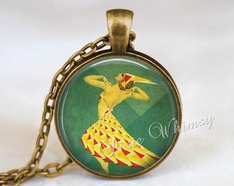 ART DECO DANCER Jewelry Pendant Necklace Keychain Dancer Dancing Vintage French Art Nouveau Dance Jewelry Gift for Dancer Ballet Theatre