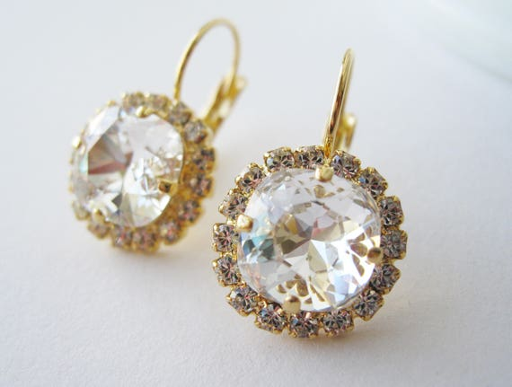 Crystal Halo Rhinestone Earrings Bridesmaid Earrings For the Bride Old Hollywood Wedding Swarovski Elements Gold Plated Nickel Free