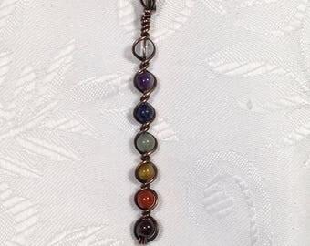 Chakra Pendant , copper, wire wrapped