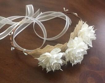 Ivory Flower Crown-Ivory Bridal Crown- Hair Wreath-Bridal Headpiece-Ivory Bridal Headpiece-White Dahlia Flower Crown
