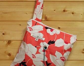 Knitting Bag, Crochet, Knit, Yarn, Wool, Pink Flowers, Yarn Storage, Yarn Bag with Hole, Grommet, Handle, SYB135