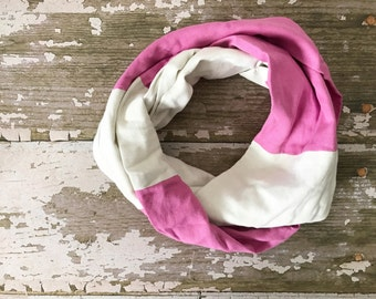 Double Gauze Infinity Scarf in Cream Starburst and Boisonberry