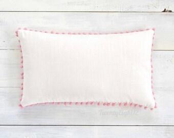 """Pom Pom Lumbar Pillow Cover - White Cotton & Pink Pom Poms - 12"""" x 20"""" - Decorative Pillow, Throw Pillow, Pom Pom Pillow Cover, White Pillow"""