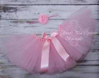 Pink Tutu & Headband Set- Tutu- Princess Tutu- Baby Tutu- 1st Birthday Tutu- Cake Smash Tutu- Birthday Tutu- First Birthday- Photo Prop