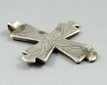 Old silver Ethiopian cross, ethiopian amulet, ethnic tribal jewelry, Christian orthodox amulet, Oromo,  talisman jewelry