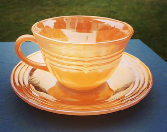 Vintage Fire-King Orange Tea Cup and Saucer