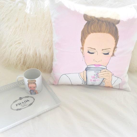 Customizable Girlboss Pillow, Girlboss Pillow, Coffee Lover Pillow, Girly Pillow, Boss Pillow