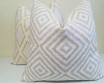 Kravet Electrify in Alloy Pillow Cover -Gray, beige geometric diamond Throw Pillow - Jonathan Adler - Euro Sham - Lumbar Pillow