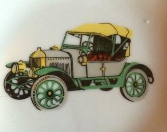 Vintage Square Trinket Tray with Old Car Design, Model T