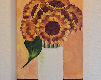 Sunflowers in a Vase 10x20 original acrylic on canvas