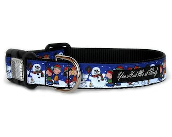 Charlie Brown Christmas Dog Collar, Peanuts, Snoopy Dog Collar, for Boy or Girl, Can be Personalized with Engraved Aluminum Buckle