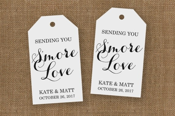 Wedding Favor Tag - Smore Love - Custom Tag - Large Size - 36 Pieces - 3.5 x 2 inches
