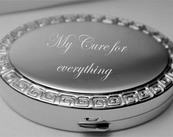 Personalized Gold or Silver Plated Greek Design Oval Pillbox Engraved Free