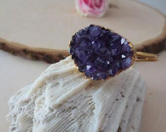Purple Amethyst gold cuff bracelet, amethyst bracelet, amethyst cuff bracelet, February birthstone, gift for her
