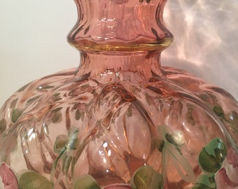 Art Glass by Fenton Double Ruffle Cranberry Hand Painted Floral Vase 1960s