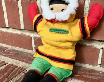 Colorful Felt Eskimo Softie. Vintage. Bright, Yellow, Red, Green. Fur Hat.