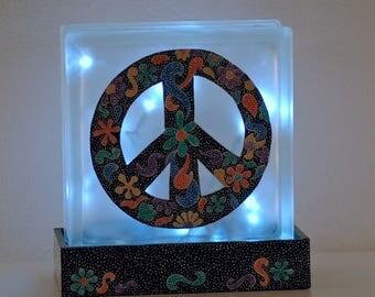 Peace sign, lighted glass block, hand painted, boho decor, 70's decor, child's room decor, teen decor, dorm decor, accent lighting,