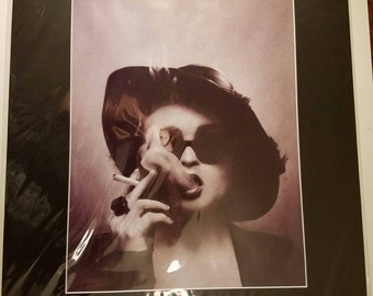 16x20 Inch Matted Print of Original Charcoal Drawing of Marla Singer in Fight Club