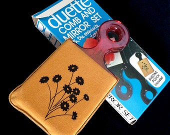Vintage 70's Duette Comb & Mirror Set, Faux Tortoise Shell, New in Box, Novelty Item
