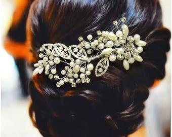 Manhattan Bridal Hair Comb, Wedding Hair Comb,  Pearl and Crystal Hair Comb, Wedding Hair Accessories, Floral Bridal Headpiece