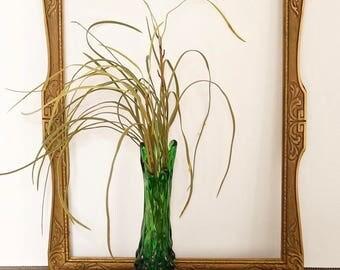 vintage green swung glass bud vase