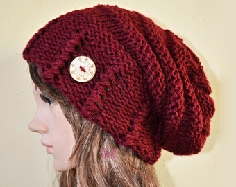 Winter Slouchy beanie hat with button - BURGUNDY - Oversized - chunky - handmade - vegan friendly - baggy - gift