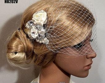 SALE Bridal Veil, Wedding Veil, Bridal Comb, Face Veil, Birdcage Veil, mini veil, Blusher veil, Vintage Flower Fascinator, Wedding Headpiece