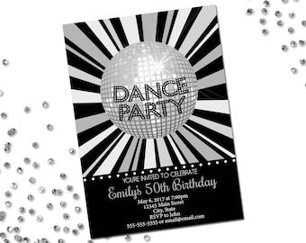 Dance Disco Party Invitation - Birthday Party Invitation - Disco Ball - Silver Gray Black - Printable