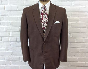 Vintage 1950s Chocolate Brown Summer Weigt Patch Pocket Sport Coat. Size 40/42