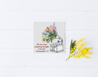 Just Because Card Greeting Record Player Scripture Bible Verse Occasion Engagement Baby Wedding