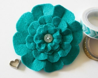 Mothers Day Gift, Teal Flower Brooch, Teal Felt Flower Pin, Unique felt Flower Accessory, Handmade Felt Jewelry,  Unique Gift for Her
