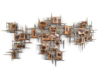 Vintage Brutalist Art Wall Sculpture * Marc Creates * Mid Century Modern  * Marc Weinstein