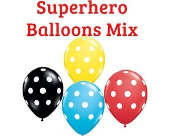 "Superhero polka dot Print 11"" Balloons birthday party decorations red , yellow, black, blue"